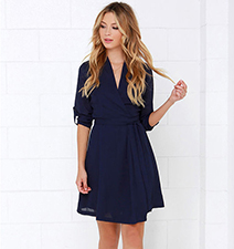 Navy Colored Chiffon Dress – Three Quarter Length Skirt / Flared Skirt