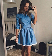 Denim Fit and Flared Dress – Three Quarter Length Skirt / V Neckline