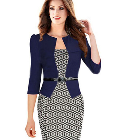 Royal Blue White Knee Length Dress – Blue Jacket / Belted Waist