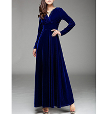 Maxi Length Blue Velvet Dress – V Neckline / Rounded Hem