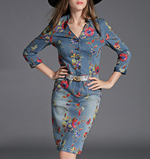 Knee Length Denim Dress – Floral Print / Blue