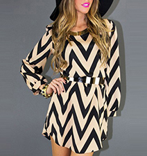 Mini Shift Dress – Chevron Print / Blue and Cream