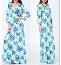 Floral Maxi Dress – Shades of Blue and White / Vee Neckline