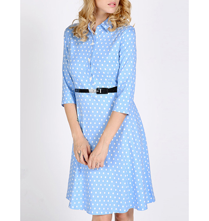 Knee Length Dress – Light Blue with White Polka Dots / Narrow Belt