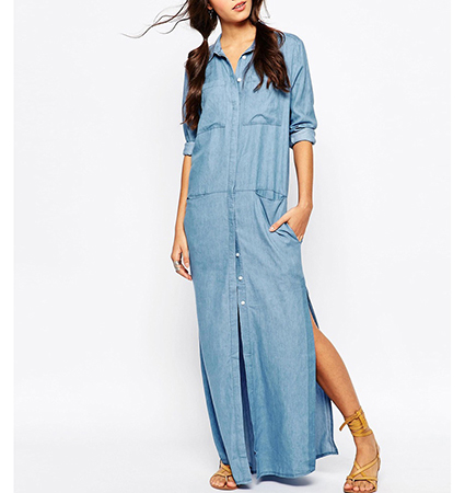 Denim Maxi Dress – Faded Blue / Button Front