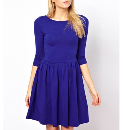 Fit and Flare Dress – Pleated Skirt / Long Sleeves / Blue