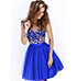 Gauze Lace Dress – Crochet Lace / Two Tone Blue / Trim Waistband / Hoop Skirt