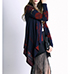 Womens Duster – Dark Blue with Red / Long Sleeves