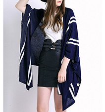 Womens Kimono Style Duster – Blue and White / Stripes