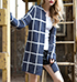 Womens Short Duster – Navy and White / Long Sleeves