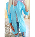 Womens Long Jacket – Buttoned Front Closure / Twin Front Pockets / Blue