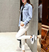 Womens Striped Denim Jacket – Pale Blue and White / Metal Buttons