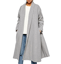 Womens Midi-Length Overcoat – Light Lilac / Long Sleeves