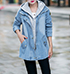 Womens Denim Parka – Faded Blue / Attached Hood