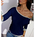 Womens Boatneck T-Shirt – Three Quarter Length Sleeves / Gray Trim