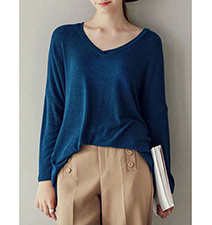 Womens V-Neck Shirt – Long Sleeves / Asymmetrical Hem / Soft Cotton Knit
