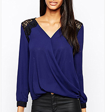Womens V-Neck Shirt – Soft Drape Fabric / Lace Embellished Shoulders