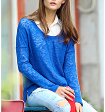 Womens Semi-Sheer Lace Top – Blue / Scoop Neckline