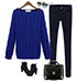 Womens Cable Knit Sweater – Royal Blue / Round Neckline