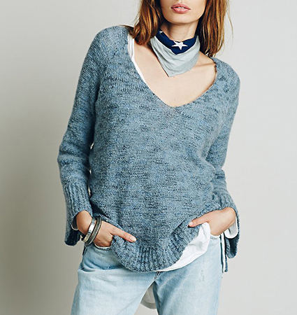 Womens Pullover Sweater – Heathered Blue / Vee Neckline