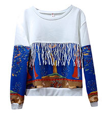 Womens Sweatshirt – White with Blue-Based Print / Fringe