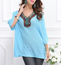 Womens Tunic – Decorative Neck Embellishments / Sky Blue