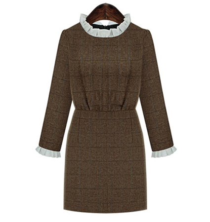 Conservative Mini Sweater Dress – Windowpane Check / Brown