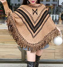 Womens Poncho – Tobacco and Black / Fringe