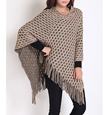Womens Dual Layer Poncho Shawl – Fringed Accent Hemline / Loose Fit