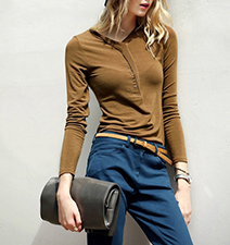 Women Casual Knit Top – Camel / Button Front