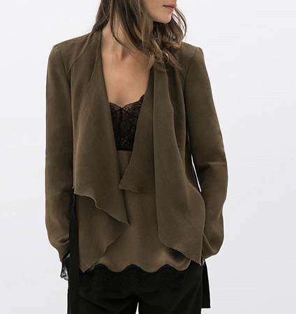Womens Open Lapel Sweater – Dark Taupe / Long Sleeves