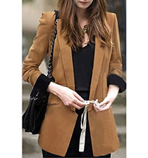 Womens Blazer – Long Sleeves / Camel / Wide Cuffs