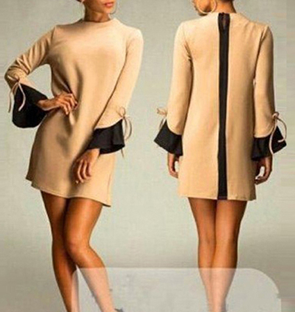 Haute Couture Mini Dress – Camel / Dramatic Back Zipper
