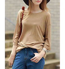 Womens Cotton Knit Top – Camel / Long Sleeves