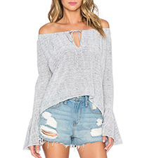 Womens Gray Cold Shoulder Blouse – Asymmetrical Hemline / Bell Sleeves