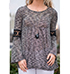 Womens Swing Style Blouse – Heathered Gray and Black / Bell Sleeves