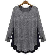 Womens Swing Style Blouse – Black and Gray / Long Sleeves