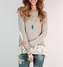 Womens Double Layered Blouse – Gray Sweater / Floral Blouse