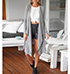 Womens Long Cardigan – Loose Lapel / V-Neck / Long Sleeves / Open Front