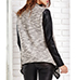 Womens Cardigan – Leather Sleeves / Open Front / Trimmed Edging / Tweed Cotton Knit