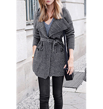 Womens Lightweight Coat – Gray / Adjustable Belt