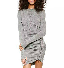 Gray Marl fitted Dress – Long Sleeves / Zipper on Side