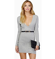 Sexy Gray Dress – Large Open Chest / Long Sleeves / Black Belt
