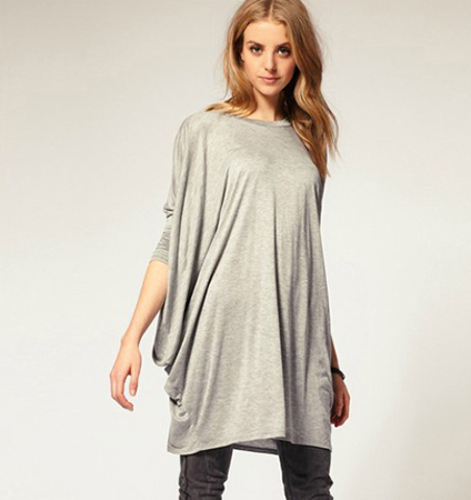 Casual Loose Fitting Dress – Light Gray / Batwing Sleeves / Thigh Length