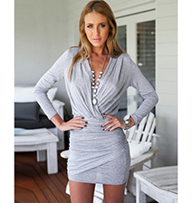 Short Gray Dress – Criss Cross Chest Area / Long Sleeves