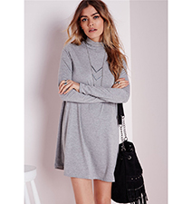 Casual Gray Dress – Long Sleeves / Polo Neck / Baggy Fit