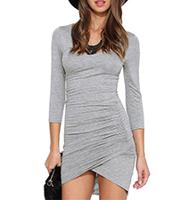 Bodycon Gray Colored Wrap Dress – Long Sleeves / V Cut on Front Hemline
