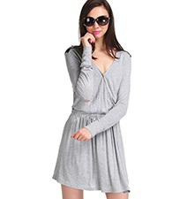 Gray Fit and Flare Dress – V Neck Cut / Black Panel On Backside