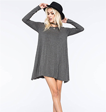 Gray T-shirt Dress – Long Sleeves / Short Length