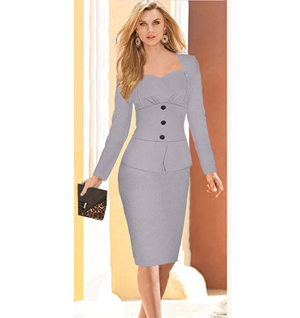 Gray Pencil Dress – Long Sleeves Tight Fitting Pencil Skirt / Black Buttons